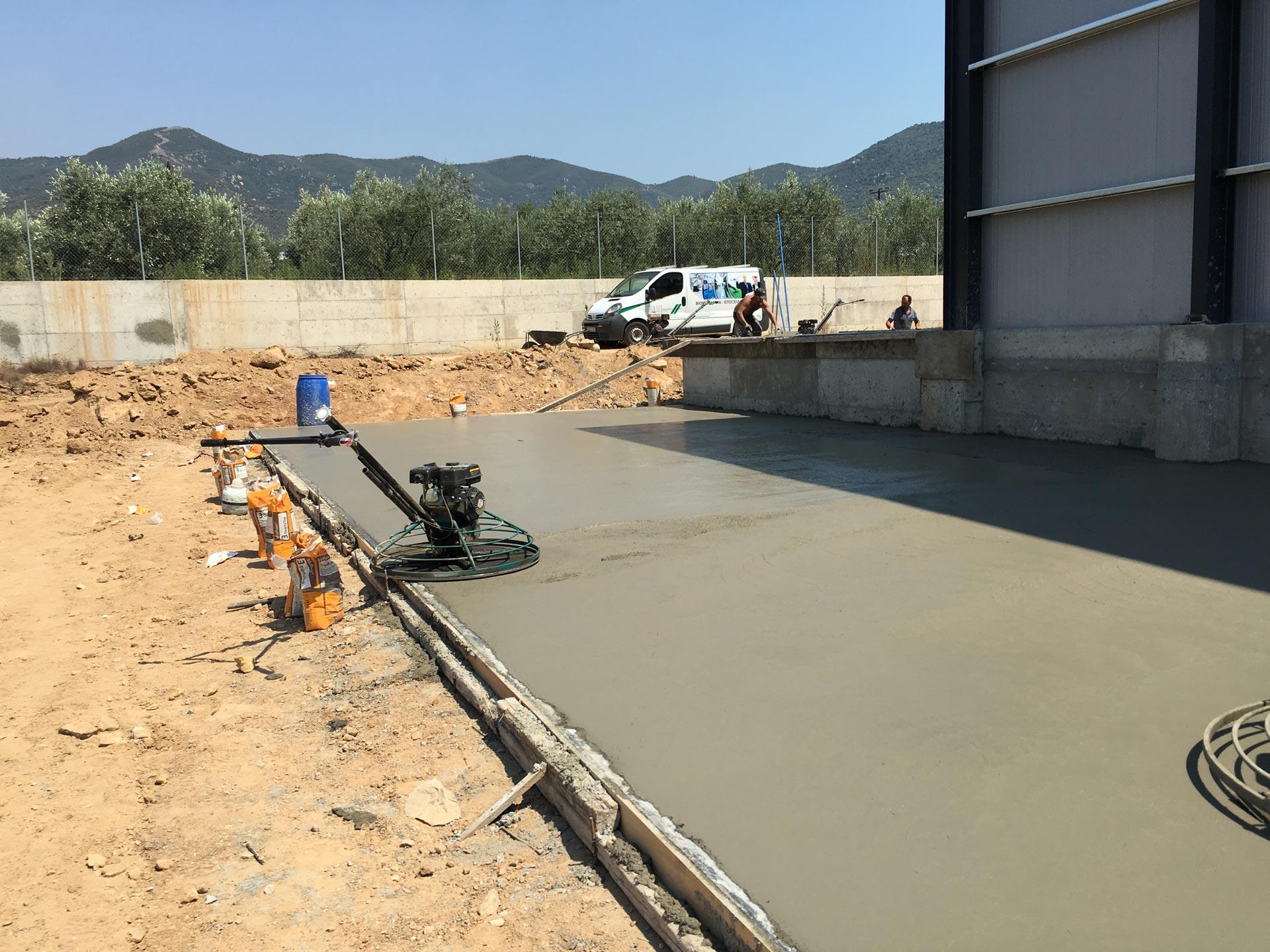 construction of concrete floor
